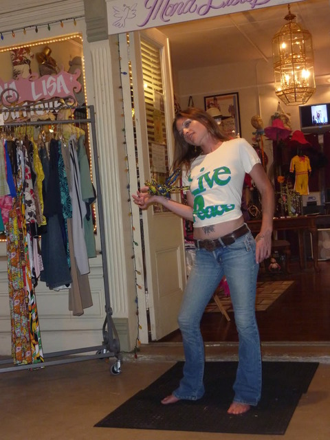 Designer/model in Stephany in Inpeloto\'s Live Peace Peace Lives organic cotton tshirt