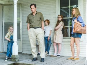 "From L to R: Eden Grace Redfield as ""Youngest Maureen,"" Woody Harrelson as ""Rex Walls,"" Charlie Shotwell as ""Young Brian,"" Sadie Sink as ""Young Lori"" and Naomi Watts as ""Rose Mary Walls"" in THE GLASS CASTLE. Photo by Jake Giles Netter."