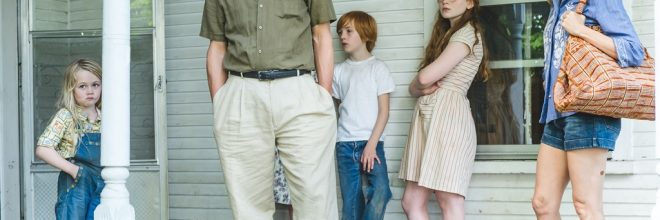 """From L to R: Eden Grace Redfield as """"Youngest Maureen,"""" Woody Harrelson as """"Rex Walls,"""" Charlie Shotwell as """"Young Brian,"""" Sadie Sink as """"Young Lori"""" and Naomi Watts as """"Rose Mary Walls"""" in THE GLASS CASTLE. Photo by Jake Giles Netter."""